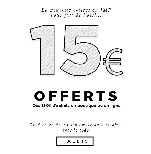 15€ offerts pour 150€ d'achet en boutique ou en ligne