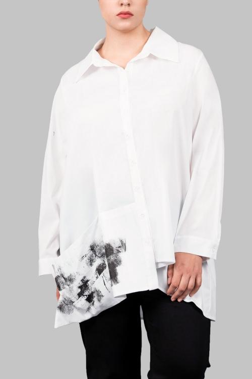 Chemise esprit artiste sérigraphiée - Blanc