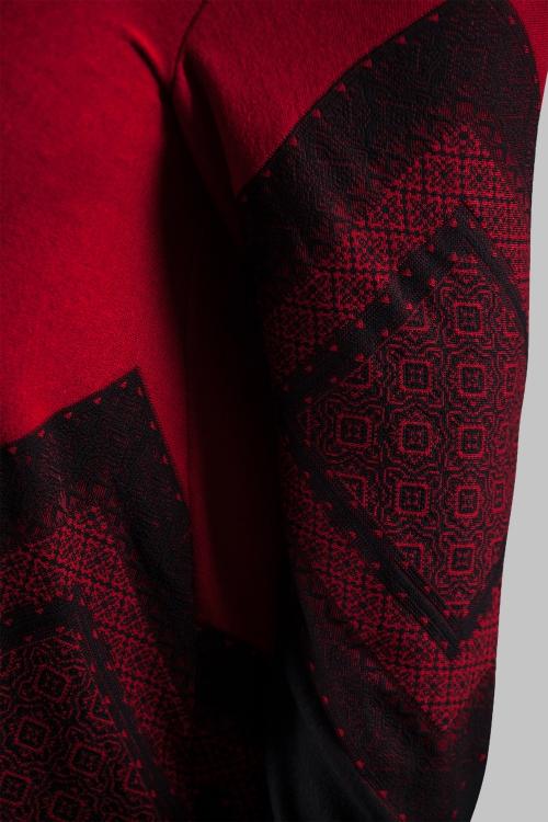 Top épaules dénudées maille - Rouge noir