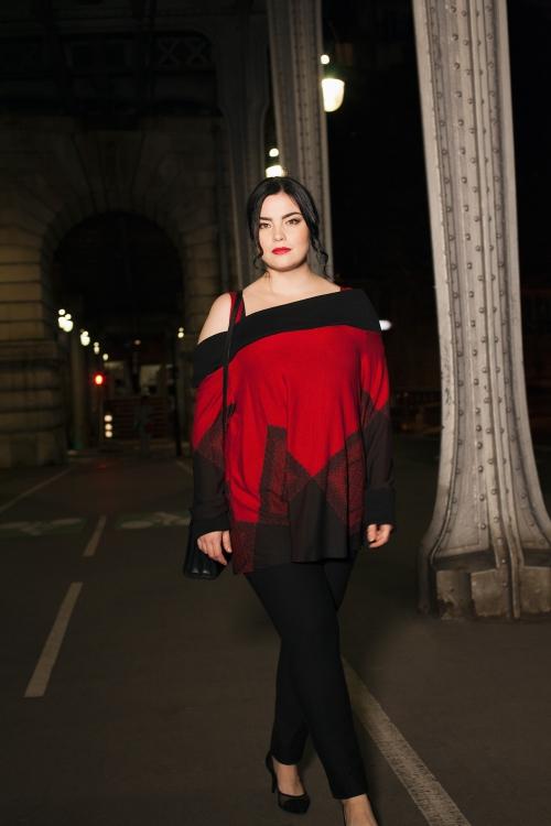 Robe rouge et noir grande taille