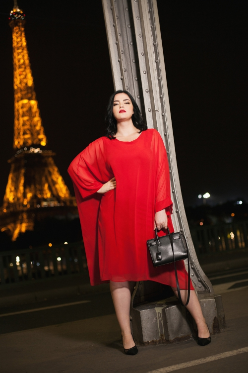 Robe oversize doublée - Rouge