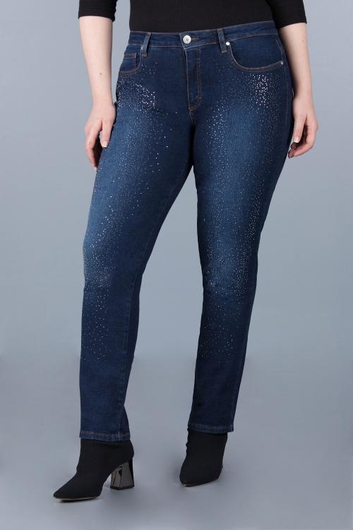 Pantalon bleu à strass - Bleu