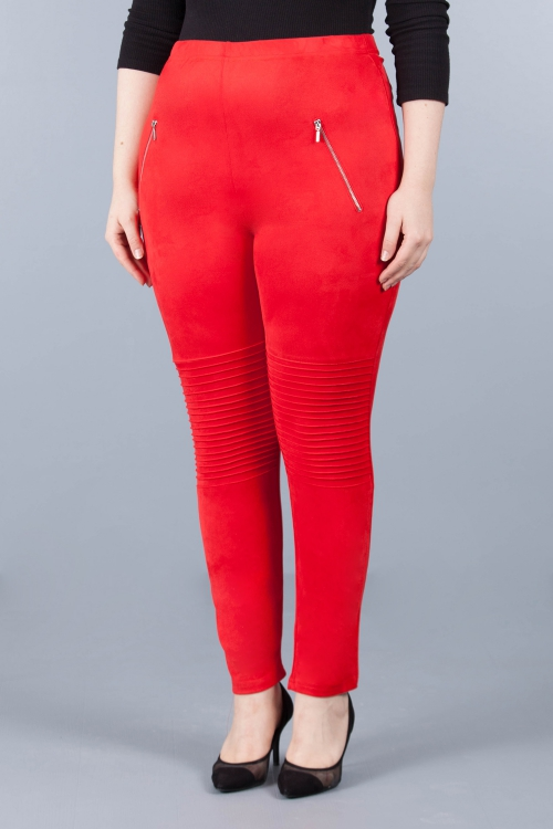 Pantalon suédine double face - Rouge
