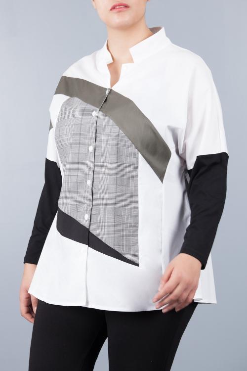 Chemise inspiration géométrique - Blanc