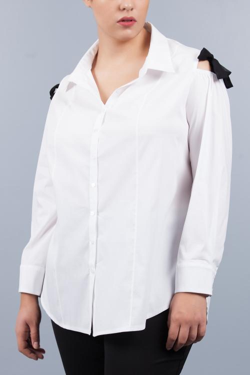 Chemise épaules dénudées petit noeud - Blanc noir