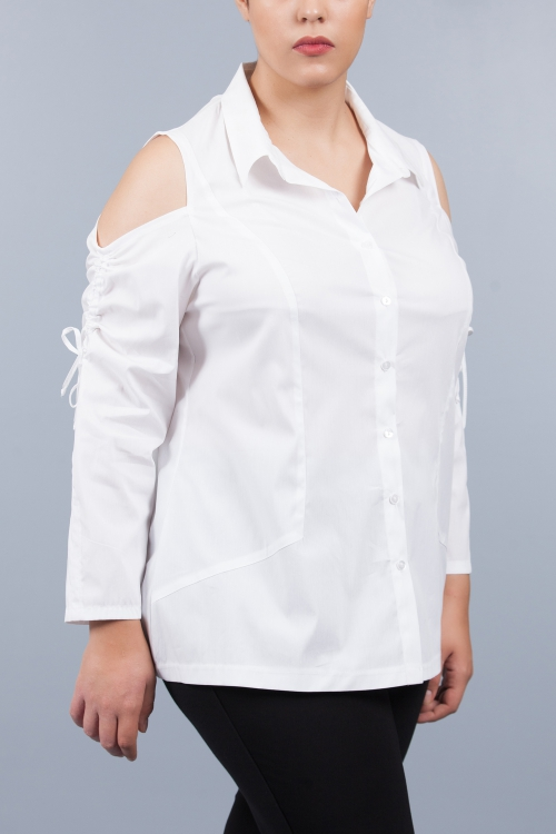 Chemise dos fantaisie - Blanc