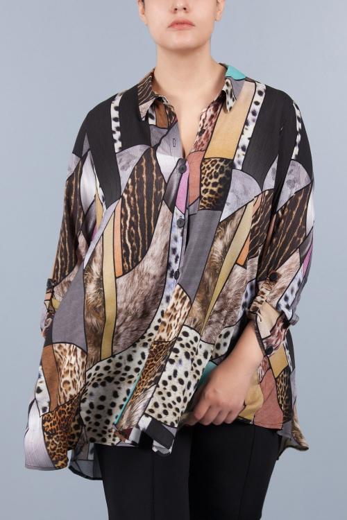 Chemise longue évasée - Brun animal
