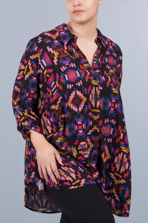 Chemise longue évasée - Noir tetris