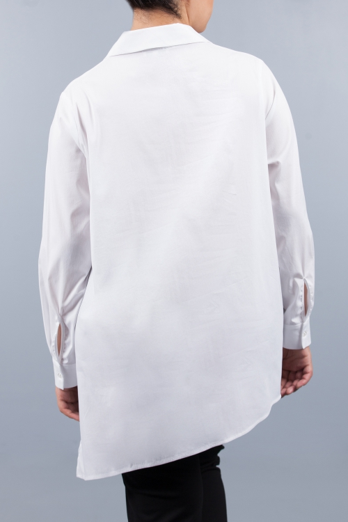 Tunique aspect chemise sérigraphiée - Blanc