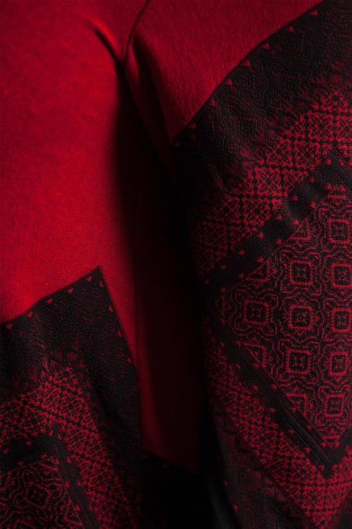 Tunique imprimée fendue - Rouge noir