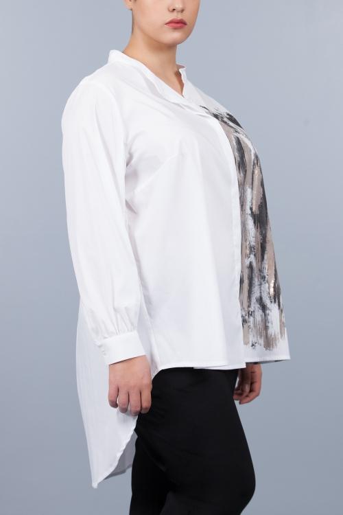 Chemise sérigraphiée col mao - Blanc