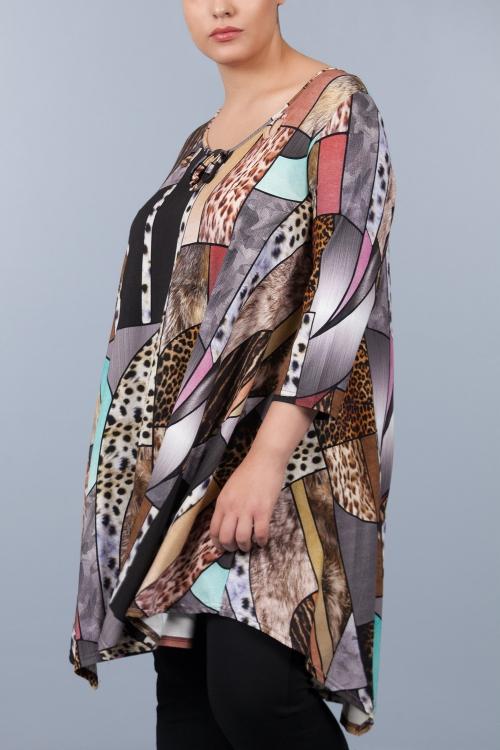 Robe tunique évasée - Brun animal