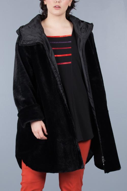 Manteau imitation fourrure réversible - Noir
