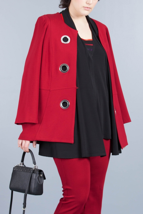 Jacket with eyelets-Red