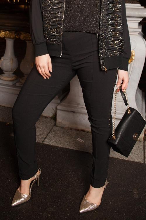 Pantalon bande dorée-Noir