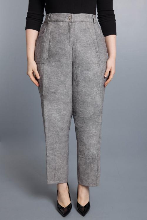 Pantalon effet tweed - gris
