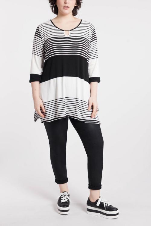 T shirt-Ecru/noir