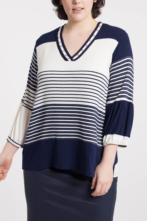 T shirt-Ecru/marine