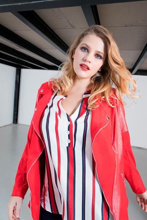 Tunisian collar shirt top - Red stripe