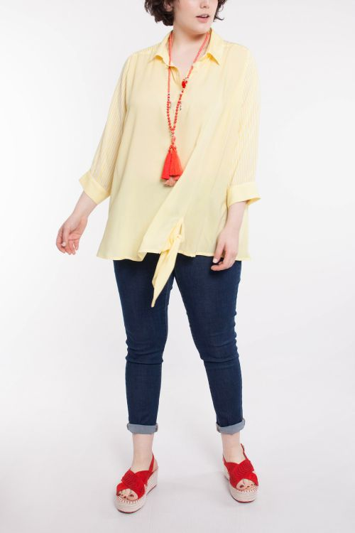 Spring shirt with striped sleeves