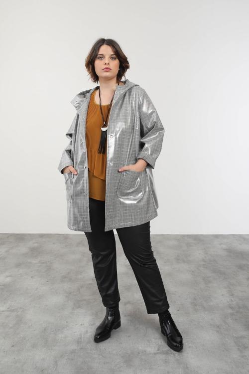 High shine rain jacket