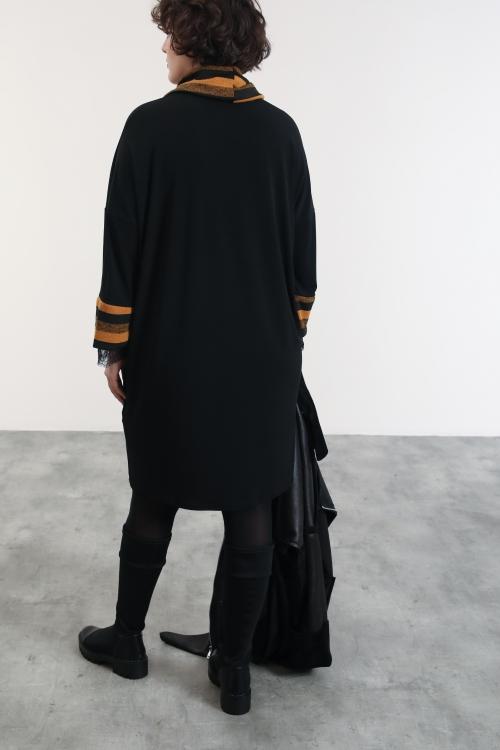 Robe col châle bimatière