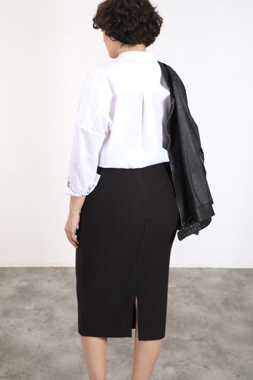 Long fine striped skirt
