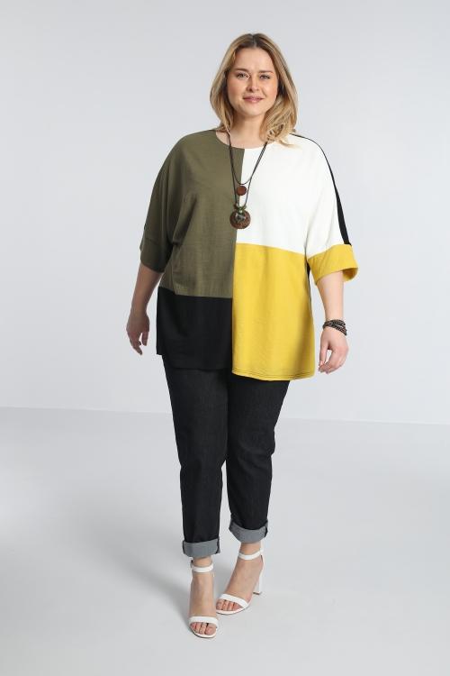 T shirt-Noir/ecru/mais/kaki