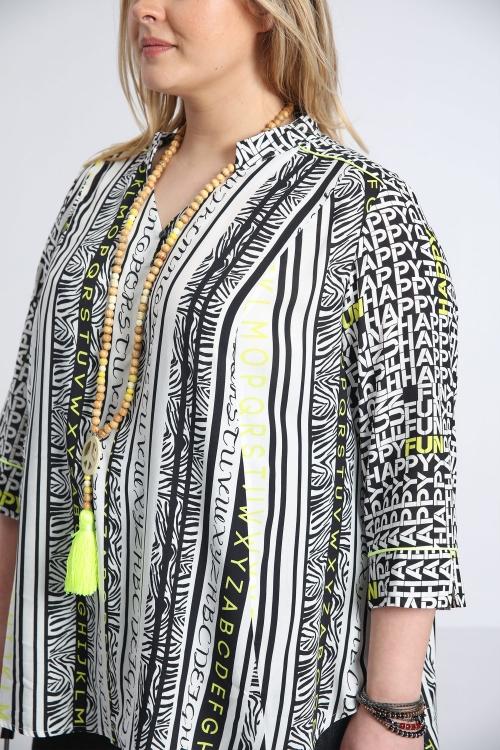 Printed mao collar shirt