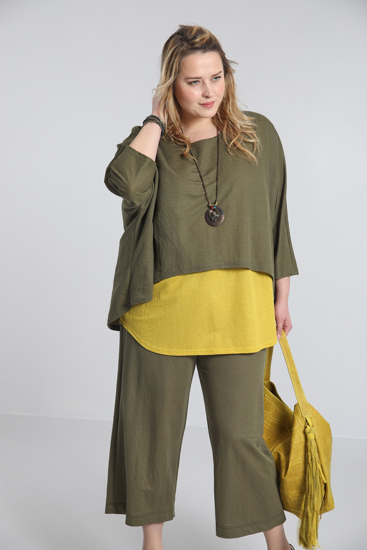 Top in two-tone overlay