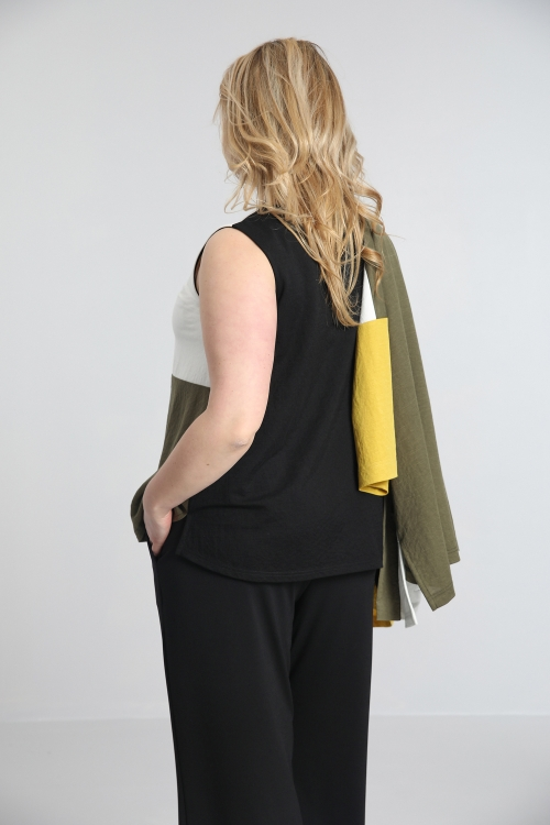 Tricolor tank top in linen knit
