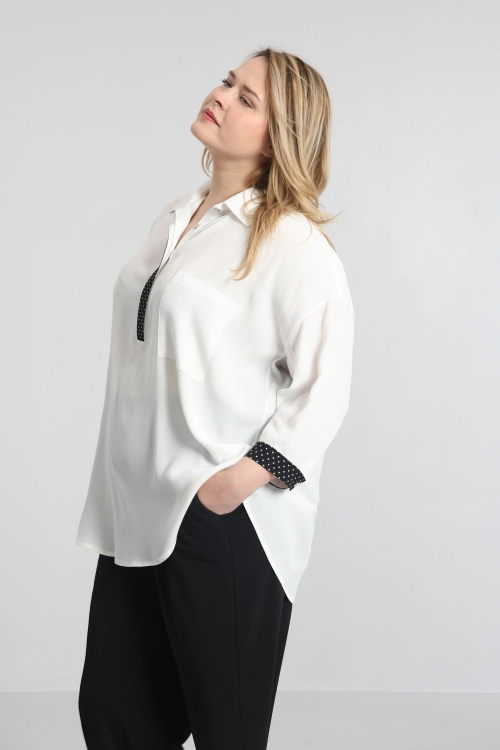 Shirt with printed tab