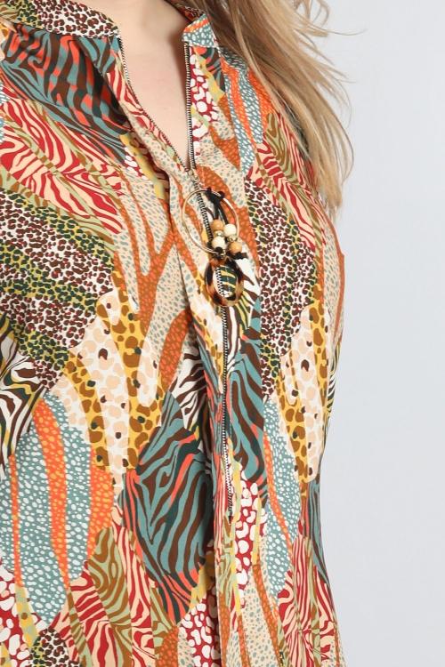 Top imprimé avec zip bijou