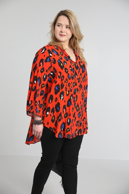 Printed mao collar shirt