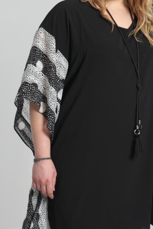 T shirt-Noir/voilepois