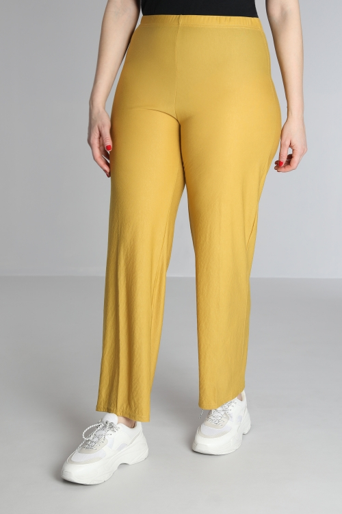 Elastic waist straight trousers
