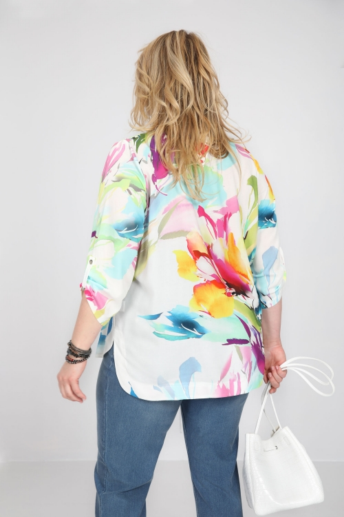 T shirt-Ecru/fleur