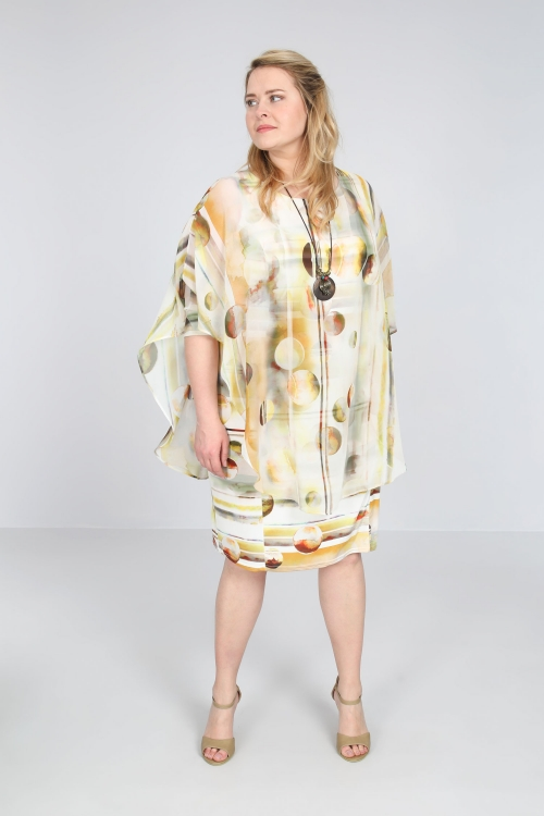 Dress with printed veil