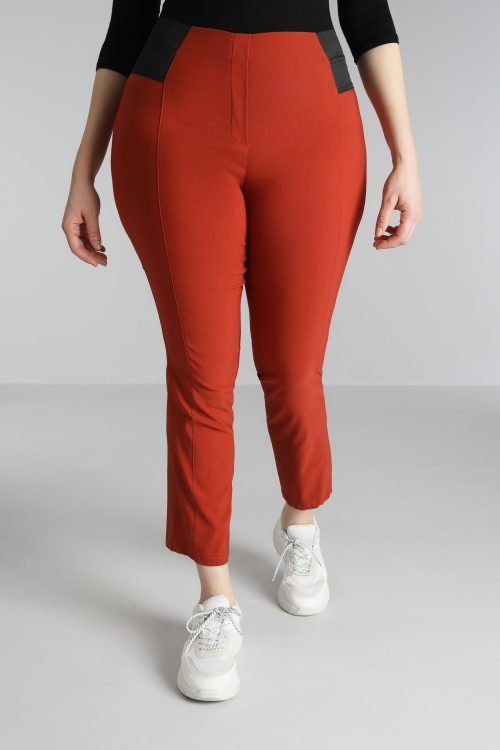 Straight pants bengaline with band waist