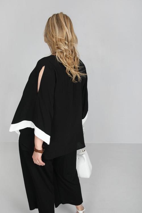T shirt-Noir/ecru