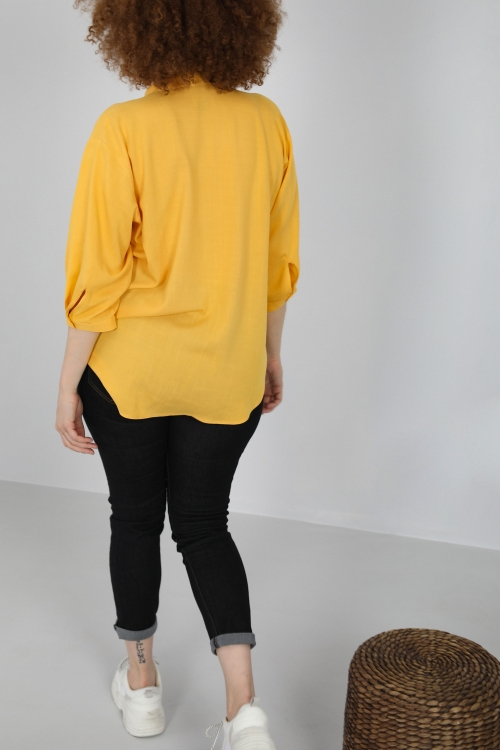 Mao collar fluid blouse