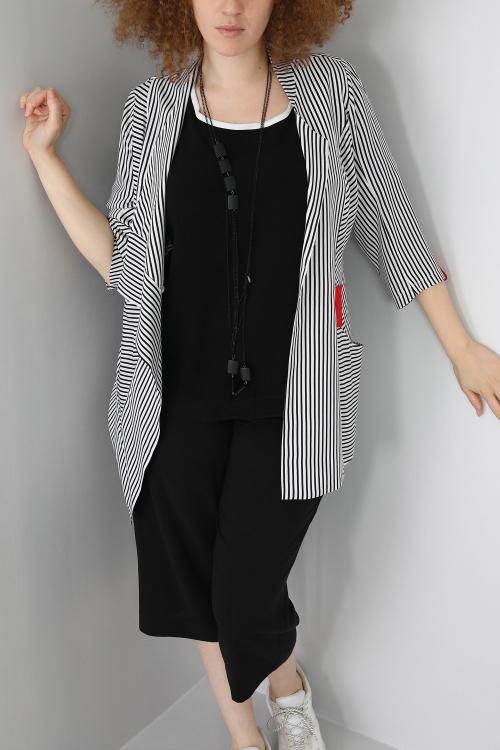 Striped jacket with graphic inserts