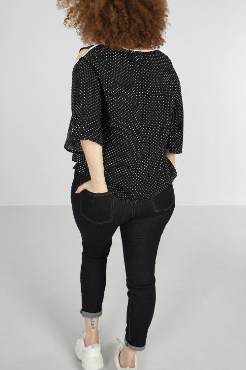 T shirt-Noir/pois
