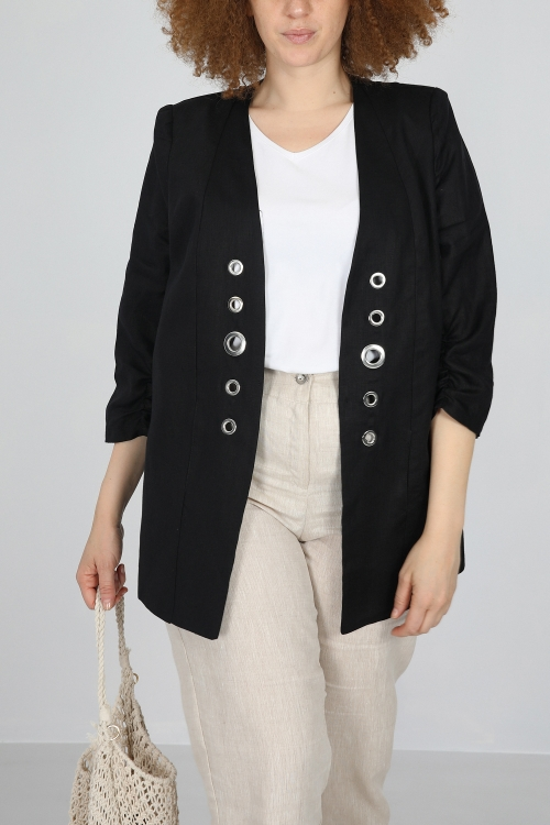 Jacket with eyelets in linen