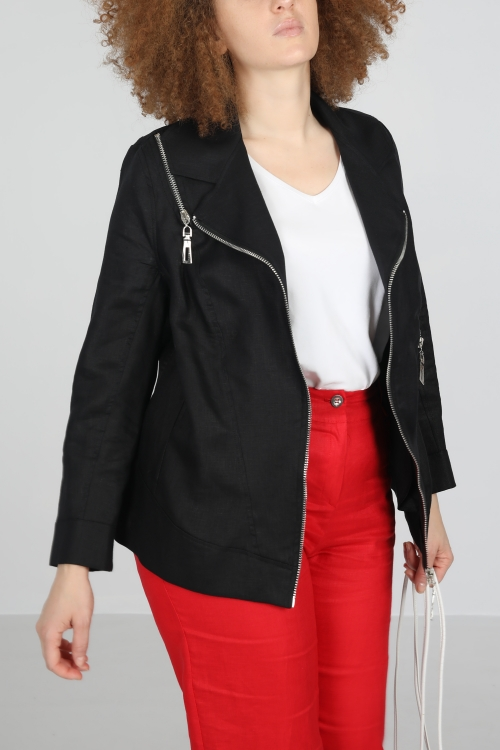 Perfecto style jacket in linen