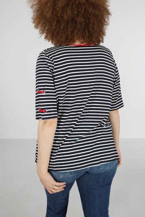 T shirt-Marine/rouge