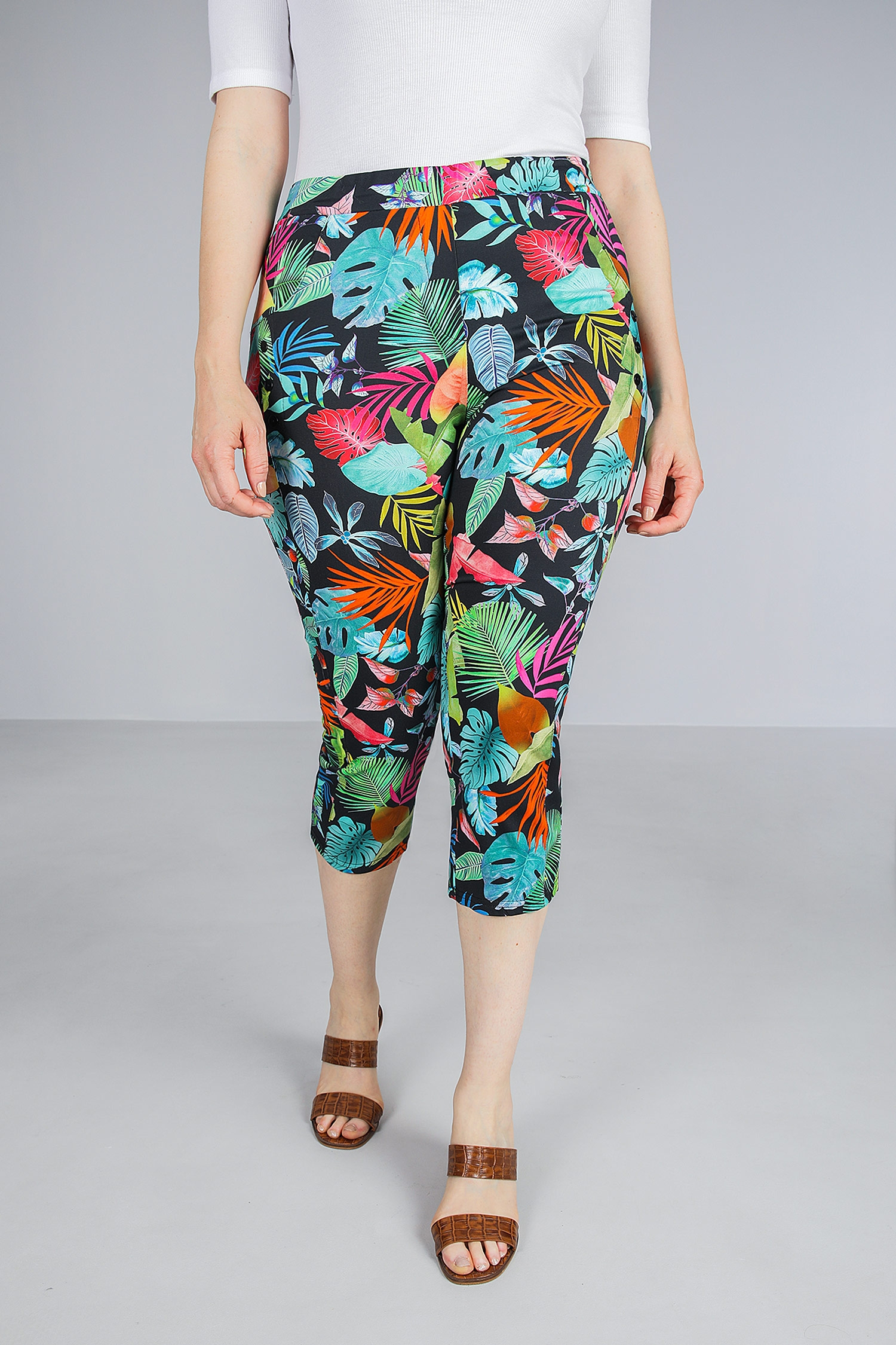 7/8 floral print trousers