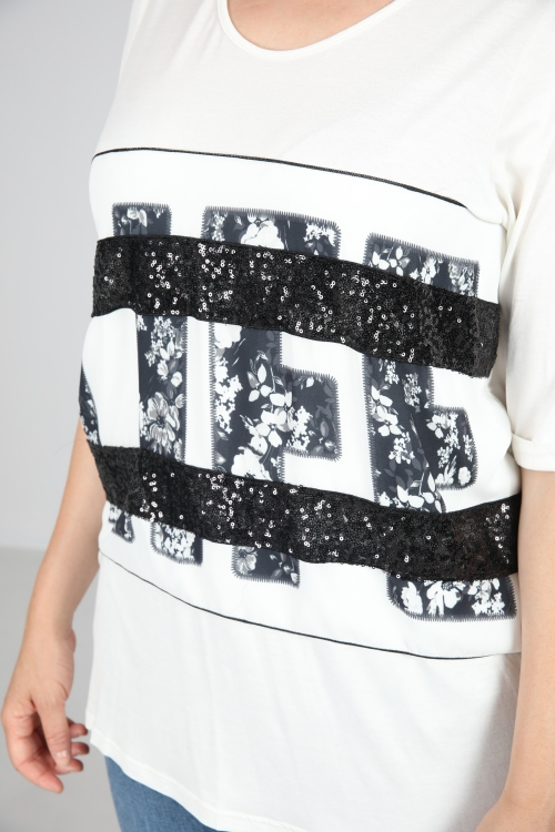 Printed sequins top LIFE