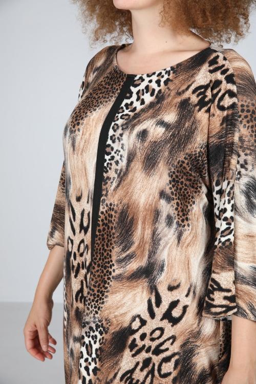 Spot / brown print dress