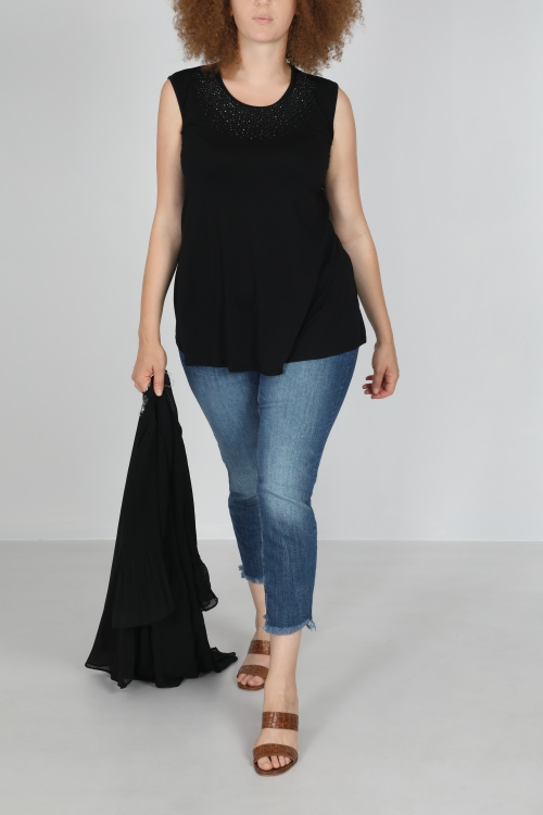 Viscose tank top with sequined neckline